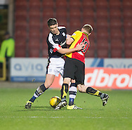 Dundee&rsquo;s Darren O&rsquo;Dea tussles with Partick Thistle's Chris Erskine - Partick Thistle v Dundee in the Ladbrokes Scottish Premiership at Firhill, Glasgow - Photo: David Young, <br /> <br />  - &copy; David Young - www.davidyoungphoto.co.uk - email: davidyoungphoto@gmail.com