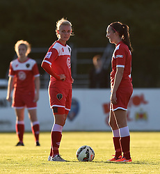 Bristol Academy captain Sophie Ingle and Caroline Weir prepare to restart the game against Oxford United Women - Mandatory by-line: Paul Knight/JMP - Mobile: 07966 386802 - 27/08/2015 -  FOOTBALL - Stoke Gifford Stadium - Bristol, England -  Bristol Academy Women v Oxford United Women - FA WSL Continental Tyres Cup