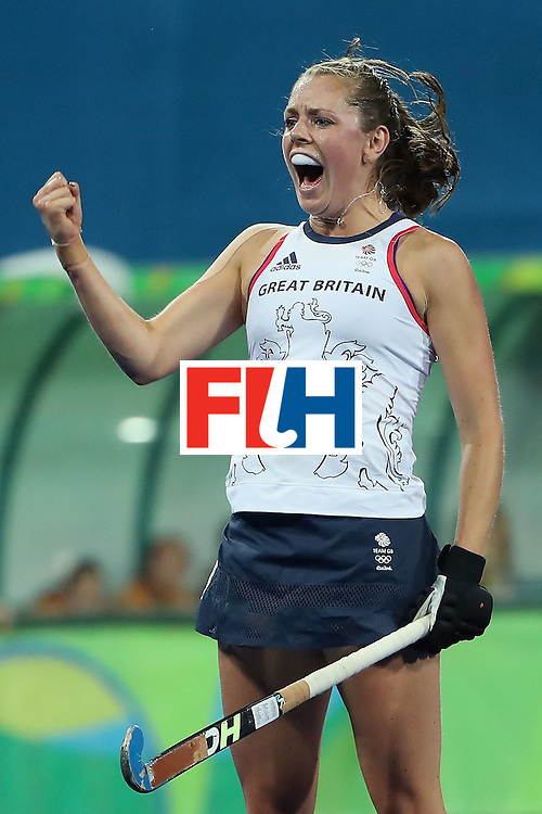 RIO DE JANEIRO, BRAZIL - AUGUST 15:  Giselle Ansley #18 of Great Britain celebrates after Georgie Twigg (not pictured) scored a first half goal against Spain during the quarter final hockey game on Day 10 of the Rio 2016 Olympic Games at the Olympic Hockey Centre on August 15, 2016 in Rio de Janeiro, Brazil.  (Photo by Christian Petersen/Getty Images)