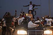 BANJUL, GAMBIA - JAN 19: People celebrate the inauguration of new Gambia's president Adama Barrow in the streets of Banjul on January 19, 2017 in Banjul, Gambia.