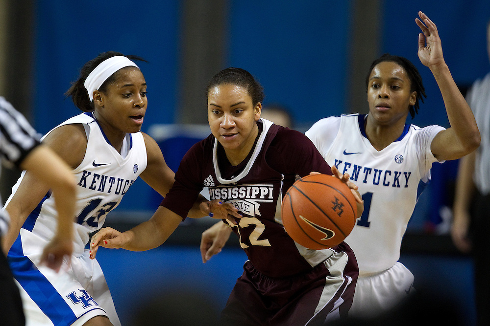 UK guard Bria Goss, right, and guard A'dia Mathies, left, swarm Mississippi State guard Candace Foster in the second half. The University of Kentucky Women hosted Mississippi State University Thursday, Jan. 17, 2013 at Memorial Coliseum in Lexington. Photo by Jonathan Palmer