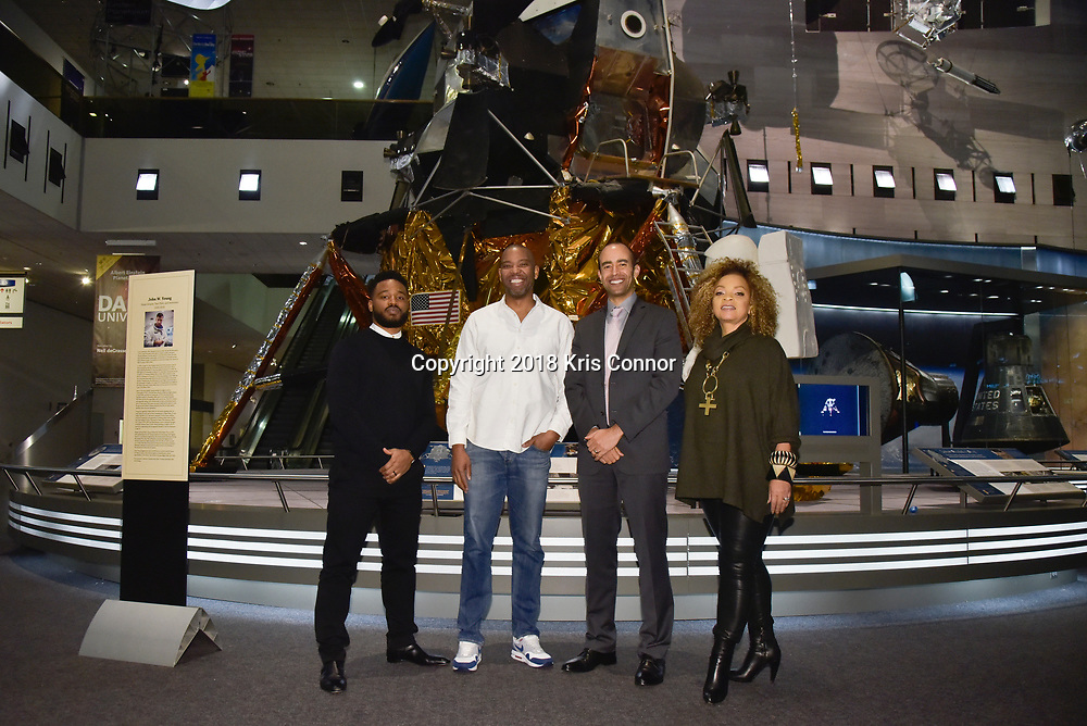 """Director Ryan Coogler, costume designer Ruth Carter, executive producer Nate Moore, join moderator  Ta-Nehisi Coates in discussion following a special advance screening of """"Black Panther"""" on Sunday, February 11 for Howard University students at the National Air and Space Museum in Washington, D.C. (Photo by Kris Connor for Disney)"""