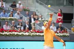 May 11, 2018 - Madrid, Madrid, Spain - RAFAEL NADAL serves in a match against DOMINIC THIEM during the quarter finals of Mutua Madrid Open 2018 - ATP in Madrid. DOMINIC THIEM won the match 7-5(3) 6-3. (Credit Image: © Patricia Rodrigues via ZUMA Wire)