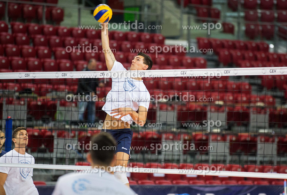 Alen Sket #5 of Slovenia during practice session of Slovenian National Volleyball team in the morning before Semifinal match against Italy at 2015 CEV Volleyball European Championship - Men, on October 17, 2015 in Arena Armeec, Sofia, Bulgaria. Photo by Vid Ponikvar / Sportida