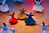 "Turkey. Central Anatolia. City of Konya. The sufi master Djalal ed-Din Rumi ou Djalal-e-Din Mohammad Molavi Rumi ou Djalaleddine Roumi (1207-1273), founded of whirling dervishes order is knows with the name of Mavlana. Is bury in Konya. Sema or sama is a term that means hearing in Arabic and Persian. It is used to refer to some of the ceremonies used by various sufi orders and often involves prayer, song, dance, and other ritualistic activities. Sema dancing is known to Europeans as the dance of the Whirling Dervishes or ""Sufi whirling"", although many forms of sema do not include whirling. In the Mevlani sufi tradition, sema represents a mystical journey of spiritual ascent through mind and love to ""Perfect."" In this journey the"