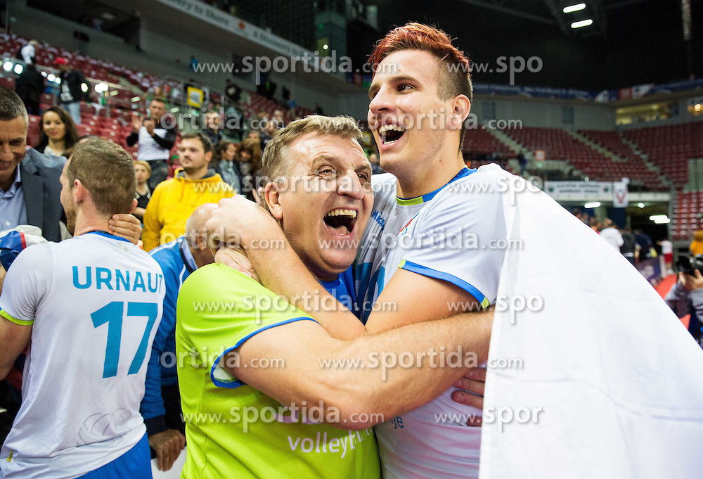 Jan Kozamernik #10 of Slovenia with fans celebrate after winning during volleyball match between National teams of Slovenia and Italy in 1st Semifinal of 2015 CEV Volleyball European Championship - Men, on October 17, 2015 in Arena Armeec, Sofia, Bulgaria. Photo by Vid Ponikvar / Sportida
