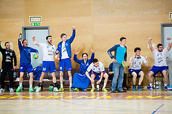 Players of Slovenj Gradec react during handball match between RD Loka and RK Slovenj Gradec in 21st Round of 1B DRL  league 2013/14 on May 10, 2014, in Sportna dvorana Poden, Skofja Loka, Slovenia. Photo by Vid Ponikvar / Sportida