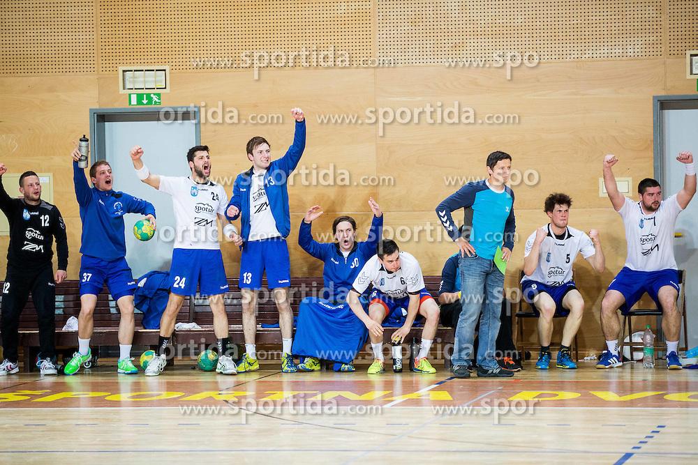 Players of Slovenj Gradec react during handball match between RD Loka and RK Slovenj Gradec in 21st Round of 1B DRL  league 2013/14 on May 10, 2014, in Sportna dvorana Poden, Skofja Loka, Slovenia. Photo by Vid Ponikvar / Sportida