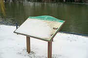 Maidenhead, United Kingdom.  General View. information board, with a dusting of snow. Raymill Island Winter Snow. Banks of the River Thames. <br /> <br /> Friday  02/03/2018 <br /> <br /> © Peter SPURRIER,<br /> <br /> Leica Camera AG  LEICA M (Typ 262)  1/125sec.  50mm ff4.8. IS0 320   25.6MB