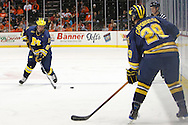 November 21, 2009:  Michigan defender Brandon Burlon (6) and Michigan center Louie Caporusso (29) during the NCCA hockey game between Michigan and the Bowling Green State University at Lucas County Arena in Toledo, Ohio.
