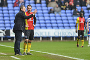 Birmingham City manager Gary Rowett gives instructions to Birmingham City defender (3) Jonathan Grounds during the Sky Bet Championship match between Reading and Birmingham City at the Madejski Stadium, Reading, England on 9 April 2016. Photo by Mark Davies.