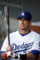 May 12, 2007: First Baseman #5 Nomar Garciaparra in the dugout with a bat as the Los Angeles Dodgers defeated the Cincinnati Reds 7-3 at Dodger Stadium in Los Angeles, CA.