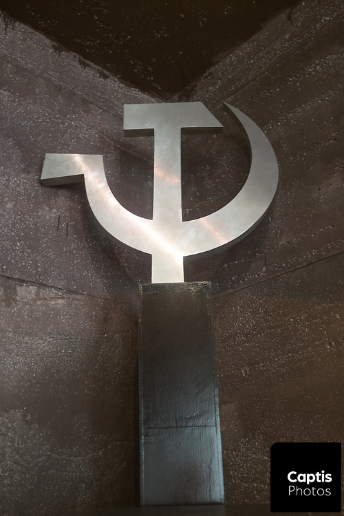 A hammer and sickle on display at the Communism Museum in Prague.