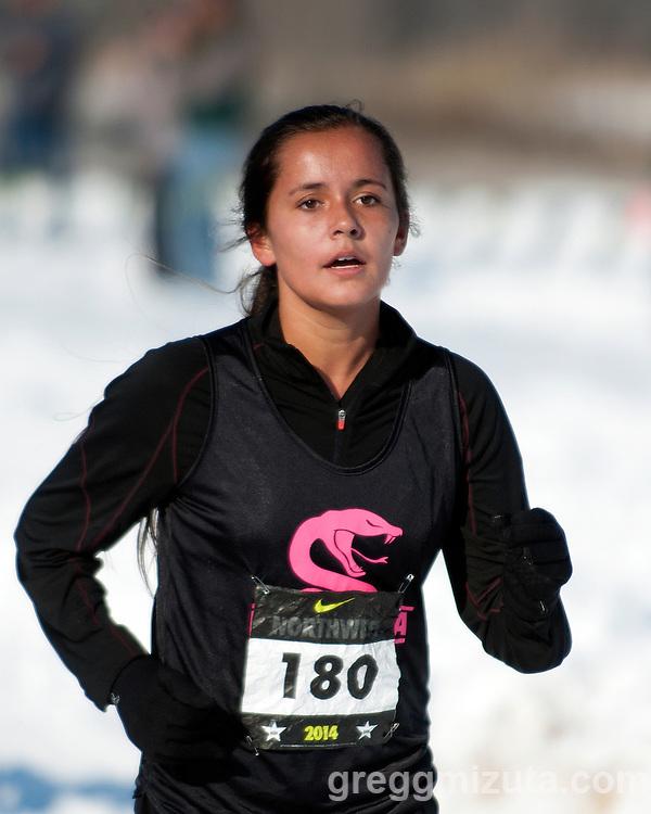 Presley Roldan, NXN Northwest girls championship race, November 15, 2014 at Eagle Island State Park, Eagle, Idaho.
