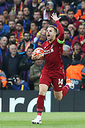 The fightback begins - Liverpool midfielder Jordan Henderson (14) fires the team and the crowd up after Liverpool open the scoring 1-0 during the Champions League semi-final, leg 2 of 2 match between Liverpool and Barcelona at Anfield, Liverpool, England on 7 May 2019.