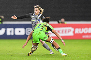 Ospreys' Jeff Hassler is tackled by Northampton Saints' Lewis Ludlam<br /> <br /> Photographer Craig Thomas/Replay Images<br /> <br /> EPCR Champions Cup Round 4 - Ospreys v Northampton Saints - Sunday 17th December 2017 - Parc y Scarlets - Llanelli<br /> <br /> World Copyright &copy; 2017 Replay Images. All rights reserved. info@replayimages.co.uk - www.replayimages.co.uk