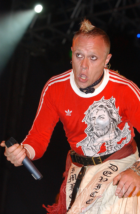 Keith Flint from the Prodigy, Saturday at the King Tuts, T in the Park...12/07/2003 ©Michael Schofield..No unauthorised syndication on behalf of copyright owner. Pictures licensed for single use only. This Caption and credit details must remain attached to file at all time.