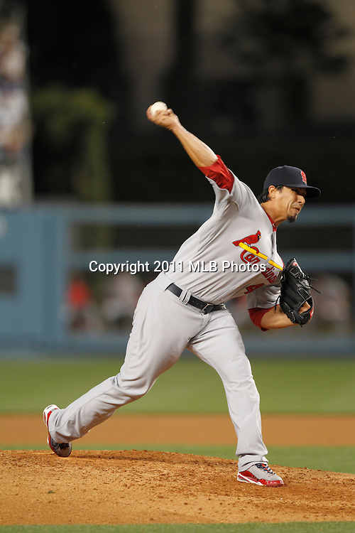 LOS ANGELES, CA - APRIL 15:  Starting pitcher Kyle Lohse #26 of the St. Louis Cardinals throws a pitch during the game between the St. Louis Cardinals and the Los Angeles Dodgers on Friday April 15, 2011 at Dodger Stadium in Los Angeles, California. (Photo by Paul Spinelli/MLB Photos via Getty Images) *** Local Caption *** Kyle Lohse