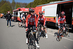 Jessie Daams leads Lotto Soudal to sign in at Stage 1 of Festival Elsy Jacobs 2017. A 97.7 km road race on April 28th 2017, starting and finishing in Steinfort, Luxembourg. (Photo by Sean Robinson/Velofocus)