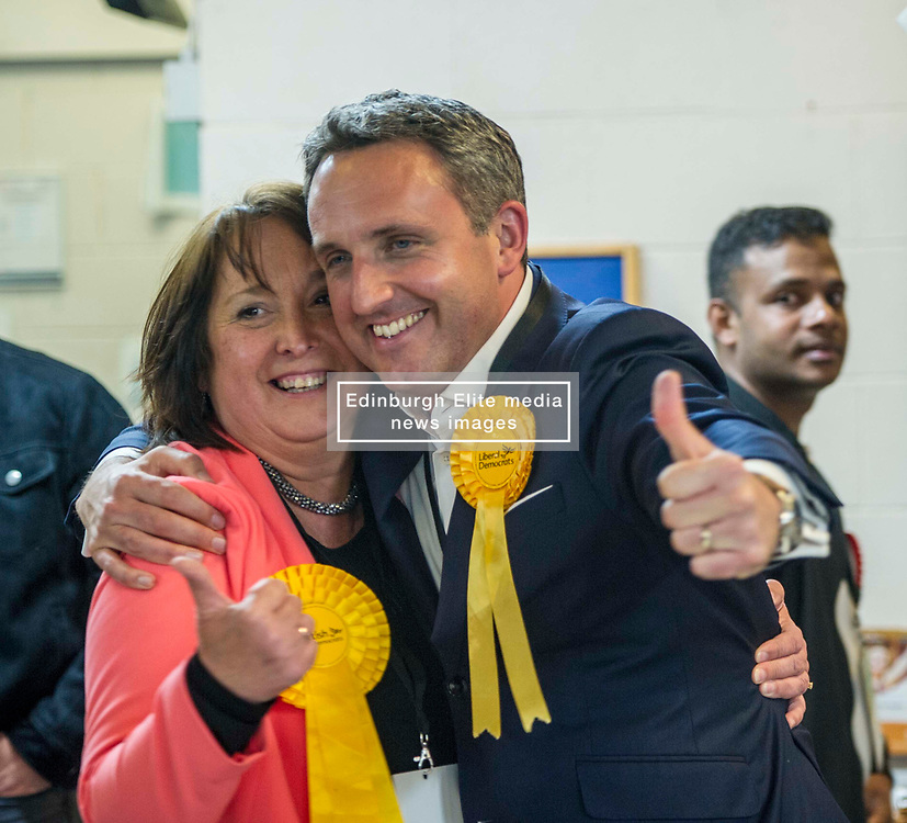 Pictured: Christine Jardine celebrates with Alex Cole Hamilton<br /> The Edinburgh Count and  announcements ended  around 4:30 this morning with weary heads around all parties.<br /> <br /> Ger Harley | EEm 9 June 2017