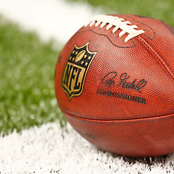 August 17, 2012; New Orleans, LA, USA; A NFL football on the field prior to kickoff of a preseason game between the New Orleans Saints and the Jacksonville Jaguars at the Mercedes-Benz Superdome. Mandatory Credit: Derick E. Hingle-US PRESSWIRE
