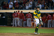 Oakland Athletics catcher Bruce Maxwell (13) reacts to Los Angeles Angels scoring a run at Oakland Coliseum in Oakland, California, on September 5, 2017. (Stan Olszewski/Special to S.F. Examiner)