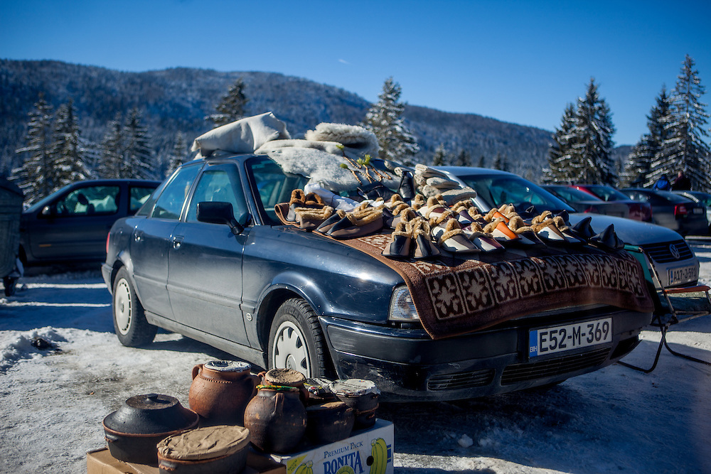 A car with goods for sale at Igman which is a mountain plateau in central Bosnia and Herzegovina. During the 1984 Winter Olympics, Igman was, along with Jahorina and Bjelašnica, the location of the competition in the alpine and Nordic sports disciplines.
