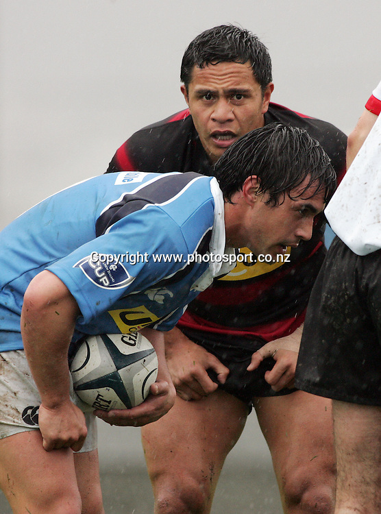 Halfbacks David Gibson (front) and Kevin Senio during the Air New Zealand Cup rugby union match between Northland and Canterbury at ITM Stadium, Whangarei, New Zealand on Saturday 5 August, 2006. Canterbury won the match 25 - 11. Photo: Hannah Johnston/PHOTOSPORT<br />