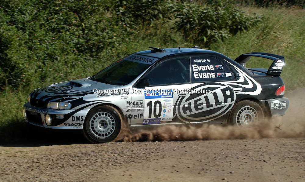 Simon & Sue Evans.Subaru Impreza WRX.2003 Falken Rally of Queensland.Imbul State Forest, QLD.13th-15th of June 2003 .(C) Joel Strickland Photographics