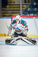 KELOWNA, CANADA - SEPTEMBER 2: Goalie Roman Basran #30 of the Kelowna Rockets warms up in net against the Victoria Royals on September 2, 2017 at Prospera Place in Kelowna, British Columbia, Canada.  (Photo by Marissa Baecker/Shoot the Breeze)  *** Local Caption ***