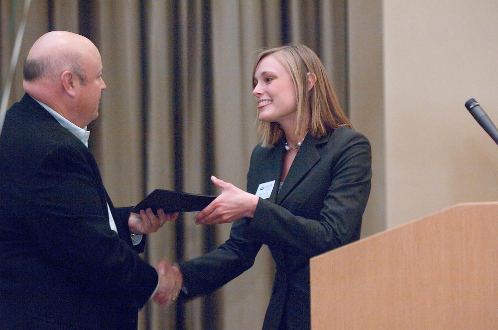 18174Sales Celebration and Awards Ceremony, April 19, 2007. Walter Hall Rotunda...Wycott Award presented by Jim Wycoff to Julie Anstine