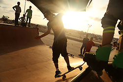 September 3, 2017 - Gaza, gaza strip, Palestine - Palestinian youths practice their parkour and skateboard skills  in Gaza sea port, on September 3, 2017. (Credit Image: © Majdi Fathi/NurPhoto via ZUMA Press)