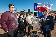 Houston ISD Superintendent Richard Carranza poses for a photograph with students during a groundbreaking ceremony for the new Energy Institute High School, November 19, 2016.