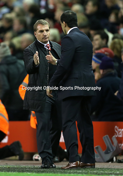 17th November 2012 - Barclays Premier League - Liverpool vs. Wigan Athletic - Liverpool manager Brendan Rodgers (L) shakes hands with Wigan manager Roberto Martinez after the match - Photo: Simon Stacpoole / Offside.