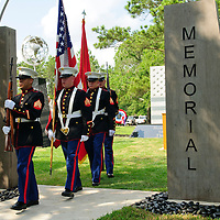 The 1st Battalion 23rd Marines retreat the colors during the dedication of the new Friendswood Veterans Memorial that was dedicated today.