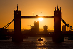 © Licensed to London News Pictures. 12/02/2018. London, UK. A Thames Clipper boat passes under Tower Bridge in central London during sunrise this morning, as temperatures in the capital dropped to freezing overnight. Photo credit : Tom Nicholson/LNP