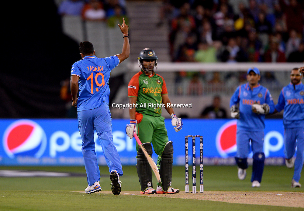 Umesh Yadav (Ind) gets Tamim Iqbal (Bang)<br /> India vs Bangladesh / Qtr Final 2<br /> 2015 ICC Cricket World Cup<br /> MCG / Melbourne Cricket Ground <br /> Melbourne Victoria Australia<br /> Thursday 19 March 2015<br /> &copy; Sport the library / Jeff Crow