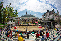 View on the main court at Beach Volleyball Challenge Ljubljana 2014, on August 1, 2014 in Kongresni trg, Ljubljana, Slovenia. Photo by Matic Klansek Velej / Sportida.com