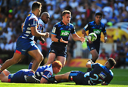 Cape Town-180317 Micheal Collins  of Blues tackled by Stephen Kitshoff of DHL Stomers in the Super Rugby tournament  at Newlands rugby stadium.Photograph:Phando Jikelo/African News Agency/ANA