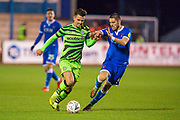Liam Shephard (#2) of Forest Green Rovers takes on Canice Carroll (#4) of Carlisle United FC during the The FA Cup match between Carlisle United and Forest Green Rovers at Brunton Park, Carlisle, England on 10 December 2019.