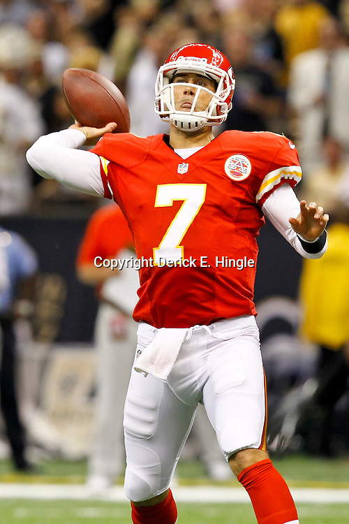 September 23, 2012; New Orleans, LA, USA; Kansas City Chiefs quarterback Matt Cassel (7) throws against the New Orleans Saints during the second quarter of a game at the Mercedes-Benz Superdome. Mandatory Credit: Derick E. Hingle-US PRESSWIRE