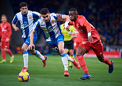 January 27, 2019 - Barcelona, U.S. - BARCELONA, SPAIN - JANUARY 27: Vinicius Junior, forward of Real Madrid competes for the ball with Marc Roca Junque, midfielder of RCD Espanyol during the La Liga match between RCD Espanyol and Real Madrid CF at RCDE Stadium on January 27, 2019 in Barcelona, Spain. (Photo by Carlos Sanchez Martinez/Icon Sportswire) (Credit Image: © Carlos Sanchez Martinez/Icon SMI via ZUMA Press)