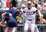 CHICAGO - JULY 24:  Dan Jennings #44 of the Chicago White Sox reacts after Adam Eaton #1 singled in the winning run against the Detroit Tigers on July 24, 2016 at U.S. Cellular Field in Chicago, Illinois.   (Photo by Ron Vesely) Subject:    Dan Jennings; Adam Eaton