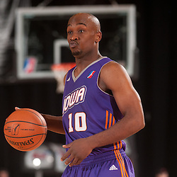 RENO, NV - JANUARY 11:  Curtis Stinson #10 of the Iowa Energy brings the ball up court against the Reno Bighorns during the 2012 NBA D-League Showcase on January 11, 2012 at the Reno Events Center in Reno, Nevada.  NOTE TO USER: User expressly acknowledges and agrees that, by downloading and or using this photograph, User is consenting to the terms and conditions of the Getty Images License Agreement. Mandatory Copyright Notice: Copyright 2012 NBAE  (Photo by David Calvert/NBAE via Getty Images) *** Local Caption *** Curtis Stinson