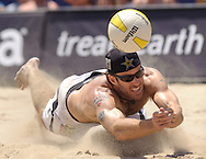John Hyden dives for the ball during the men's final at the Nivea AVP Huntington Beach Open at Huntington Beach, Calif., on Sunday, June 6, 2010.  Hyden and Sean Scott lost to Todd Rogers and Phil Dalhausser 2-1 (21-16, 18-21, 15-9).