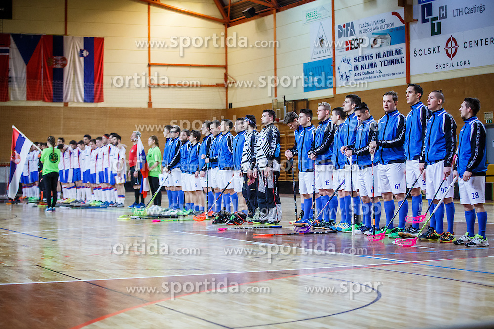 Slovenian national team during floorball match between Slovenia and Serbia at World Championship 2016 Qualifiactions in Skofja Loka, Slovenia on 5th of February.  Photo by Grega Valancic / Sportida