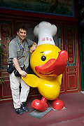 Qianmen Quanjude Roast Duck Restaurant - the best Beijing Roast Duck since 1864. Heimo Aga shaking hands - er - wings with the chef duck.