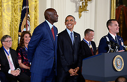 US President Barack Obama presents Michael Jordan with the Presidential Medal of Freedom, the nation's highest civilian honor, during a ceremony honoring 21 recipients, in the East Room of the White House in Washington, DC, November 22, 2016. Photo by Olivier Douliery/ABACA