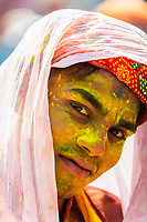 Lathmar Holi (Holi, Festival of Colors), Barsana, near Mathura, Uttar Pradesh, India.