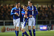 GOAL Ollie Rathbone celebrates putting Rochdale 2-0 up  during the EFL Sky Bet League 1 match between Rochdale and Scunthorpe United at Spotland, Rochdale, England on 10 December 2016. Photo by Daniel Youngs.